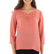 HOLLYWOULD 3/4-Sleeve Crochet-Back Chiffon Top