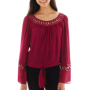 XOXO® Long-Sleeve Lattice Peasant Top
