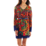 XOXO® Long-Sleeve Print Peasant Dress
