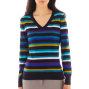 Worthington® Long-Sleeve Ribbed V-neck Sweater - Petite