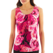Worthington® Sleeveless Metal-Trim Pleated Top