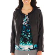 Worthington® Faux Leather-Trim Jacket - Petite