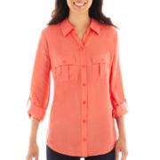 a.n.a® Long-Sleeve 2-Pocket Easy Shirt - Petite