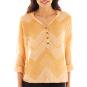 a.n.a® Long Rolled-Sleeve Mandarin Collar Woven Top - Petite