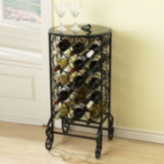 Glass-Top Wine Rack Table