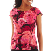 Worthington® Short-Sleeve Peplum Blouse - Petite