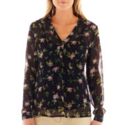 Liz Claiborne® Long-Sleeve Henley Blouse with Cami - Tall