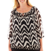 Alyx® 3/4-Sleeve Banded Peasant Blouse with Tank Top - Plus