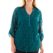Alyx® 3/4-Sleeve Lace-Mix Blouse with Tank Top