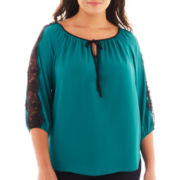 Alyx® 3/4-Sleeve Lace Peasant Blouse - Plus