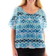 Alyx® Sleeveless Cold-Shoulder Print Top - Plus