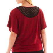 Alyx® Malone Short-Sleeve Banded Crochet-Back Top - Plus
