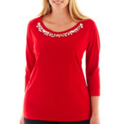 St. John's Bay® 3/4-Sleeve Jeweled Tee - Plus