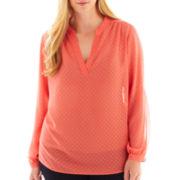 a.n.a® Long-Sleeve Embellished Polka Dot Blouse - Plus