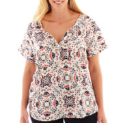 a.n.a® Short-Sleeve Cuffed Henley Blouse - Plus