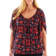 a.n.a® Banded Bottom Flutter-Sleeve Top - Plus