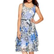 Robbie Bee® Sleeveless Tiered Hem Print  Dress