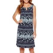 Perceptions Sleeveless Pleat-Front Knit Dress