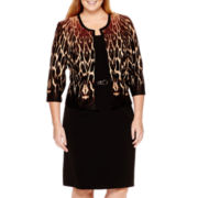 Studio 1® 3/4-Sleeve Animal Print Jacket Dress - Plus
