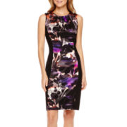 London Style Collection Sleeveless Floral Panel Sheath Dress - Petite