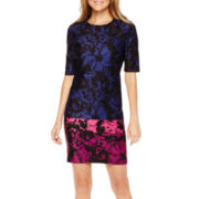 Danny & Nicole® Elbow-Sleeve Floral Print Scuba Sheath Dress - Petite