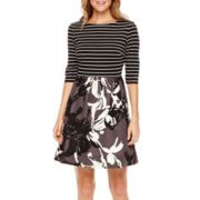 Danny & Nicole® 3/4-Sleeve Mixed Print Fit-and-Flare Dress - Petite