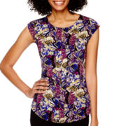 Liz Claiborne® Sleeveless Pleat-Front Top - Tall