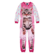 Jellifish Cat-Print Sleeper Pajamas - Girls 4-16