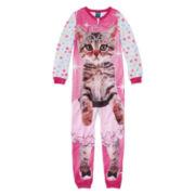 Jellifish Cat-Print Sleeper Pajamas - Girls 4-16