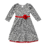 Youngland® Leopard-Print Knit Dress - Toddler Girls 2t-4t