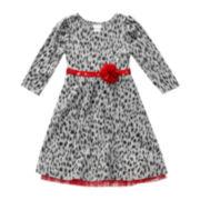 Youngland® Leopard-Print Knit Dress - Toddler Girls 2t-4t