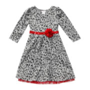 Youngland® Leopard-Print Knit Dress - Preschool Girls 4-6x