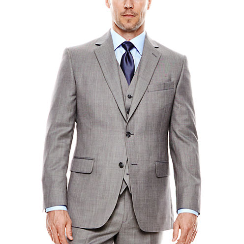 Stafford® Travel Gray Sharkskin Suit Jacket - Classic Fit