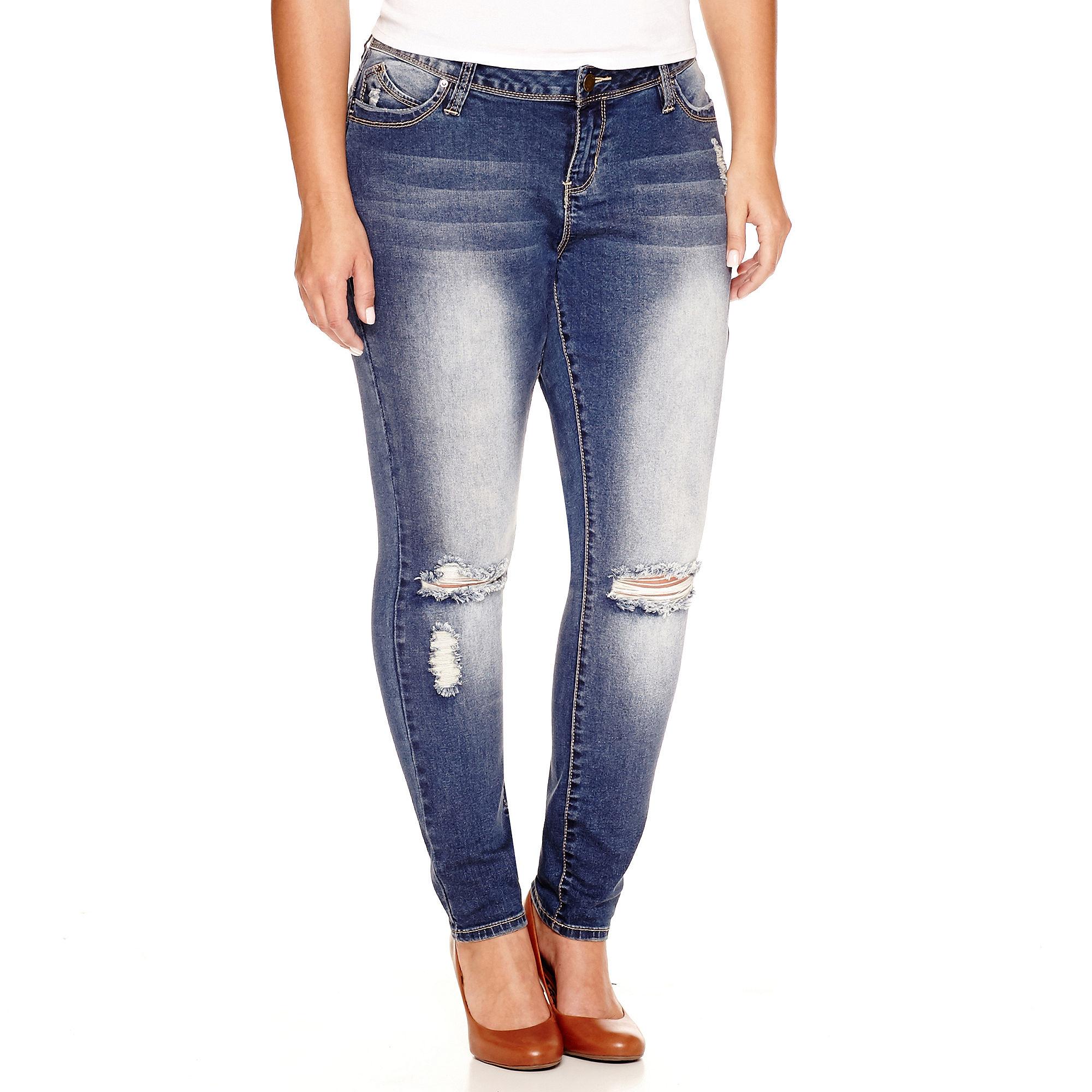 YMI Wanna Betta Butt Destructed Skinny Jeans - Plus