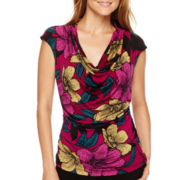 Worthington® Short-Sleeve Ruched Cowlneck Top - Petite