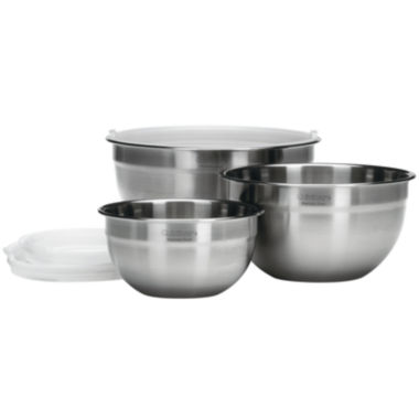 jcpenney.com | Cuisinart® 3-pc. Stainless Steel Mixing Bowl Set with Lids