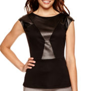Worthington® Cap-Sleeve Faux-Leather Peplum Blouse