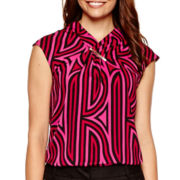 Worthington® Sleeveless Hardware Wrap-Neck Blouse
