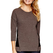 a.n.a® 3/4-Sleeve Textured Zipper Sweatshirt - Petites