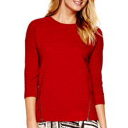 a.n.a® 3/4-Sleeve Textured Zipper Sweatshirt
