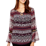 Alyx® Bell-Sleeve Print Peasant Top