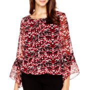 Alyx® Bell-Sleeve Mesh-Trim Top