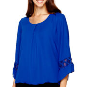 Alyx® Bell-Sleeve Mesh-Trim Bubble Top