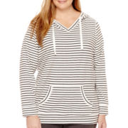 Made For Life™ Long-Sleeve Striped Hooded Tunic - Plus