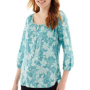 St. John's Bay® 3/4-Sleeve Popover Peasant Top