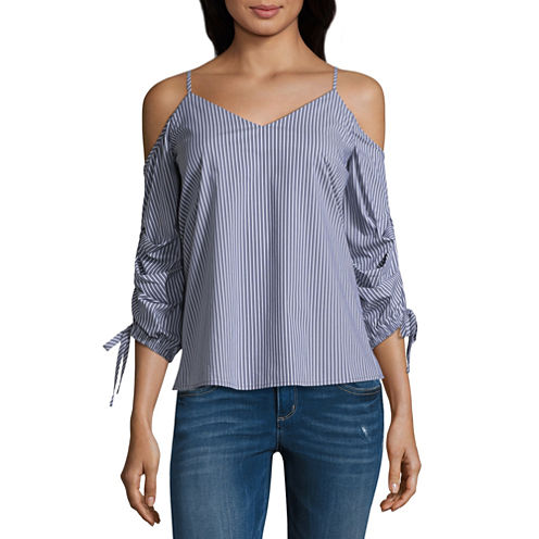 Belle + Sky Cold Shoulder Tacked Sleeve Top