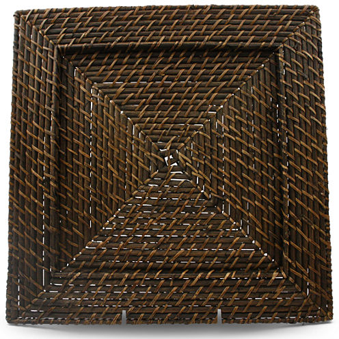 Set of 4 Square Rattan Chargers