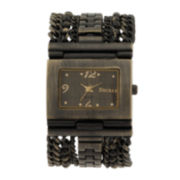Decree® Womens Chunky Chain Rectangular Watch