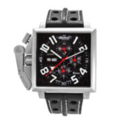 Ingersoll® Bison Mens Square Automatic Leather Strap Watch
