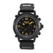Ingersoll® Bison Mens Black & Orange Automatic Strap Watch